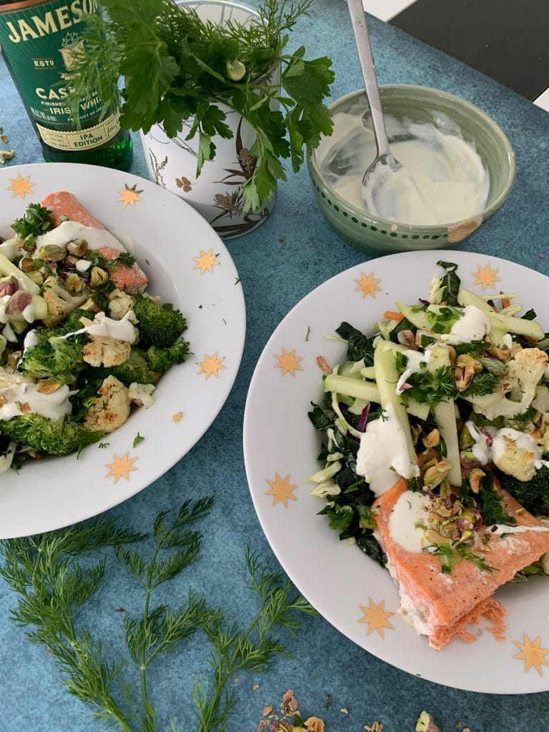 easy roasted salmon with fresh greens