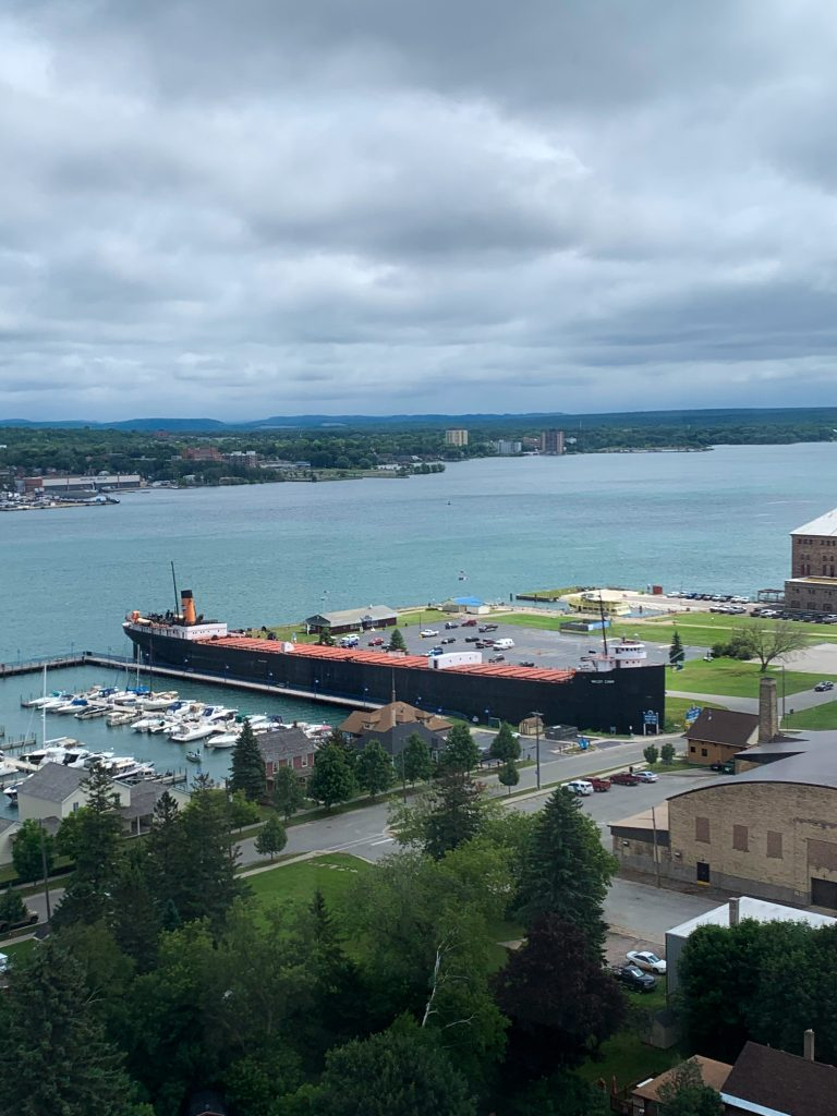 best places to visit in upper peninsula michigan: Sault Ste Marie locks from up top