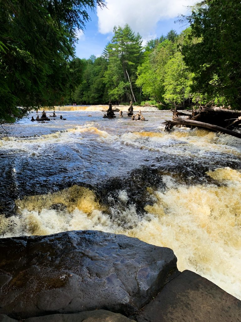 best places to visit in upper peninsula michigan: lower tahquamenon falls stupas
