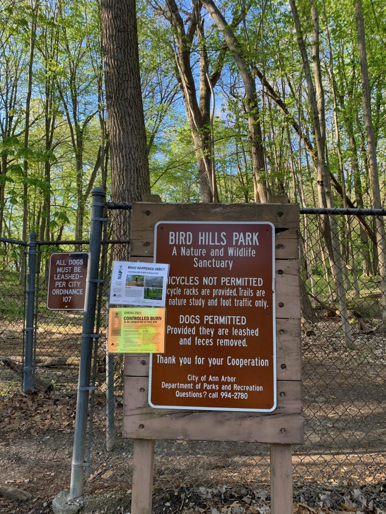 Parks in Ann Arbor: Entrance to Bird Hills Nature Area