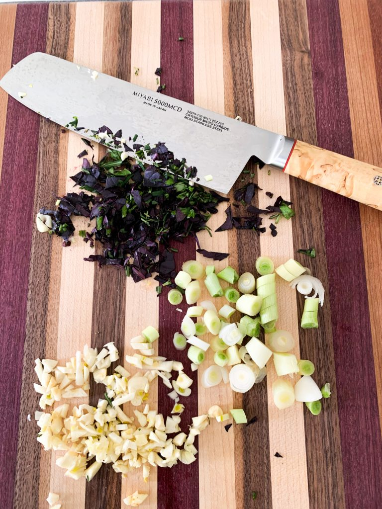 Perfect gifts for Men who cook: Miyabi knife and Custom Cuts Woodworking Cutting Board