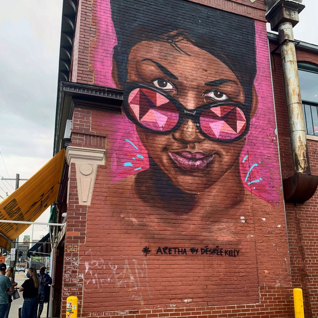 Colorful grafitti at Eastern Market in Detroit shows Aretha Franklin