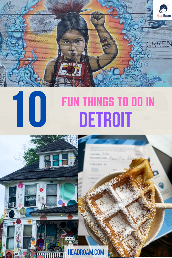 This image features street art, the Heidelberg project, and a unique coffee with a waffle topper from Bea's in Detroit