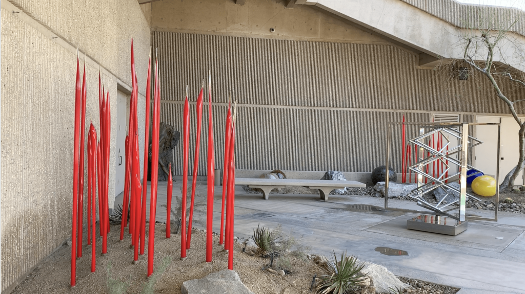 palm springs guide: the peaceful Elrod sculpture garden at The Palm Springs Museum