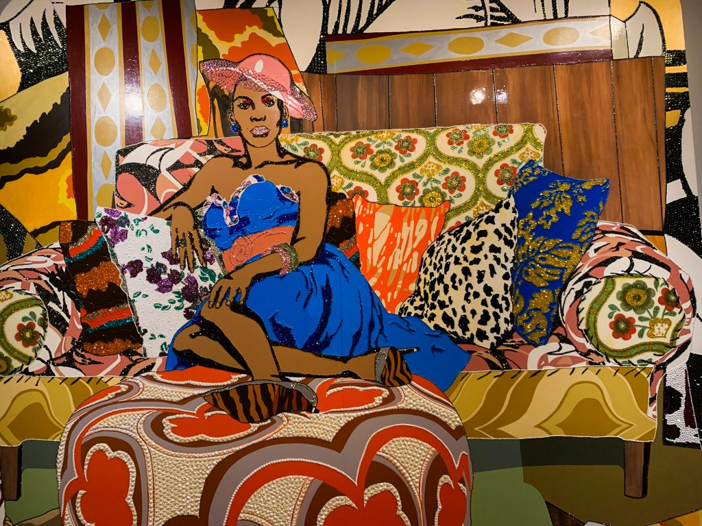 """Mickalene Thomas's joyful multimedia portrait """"Something You Can Feel"""" is a highlight of the African American collection of the DIA, Detroit Institute of Art, one of our top Fun Things to Do in Detroit."""