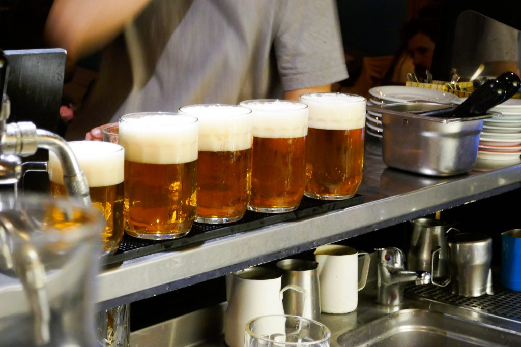 A row of Pilseners ready to go: beer lovers will love sightseeing Prague