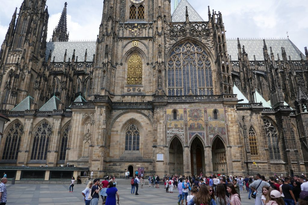 Crowds outside St. Vitus Cathedral in Prague.