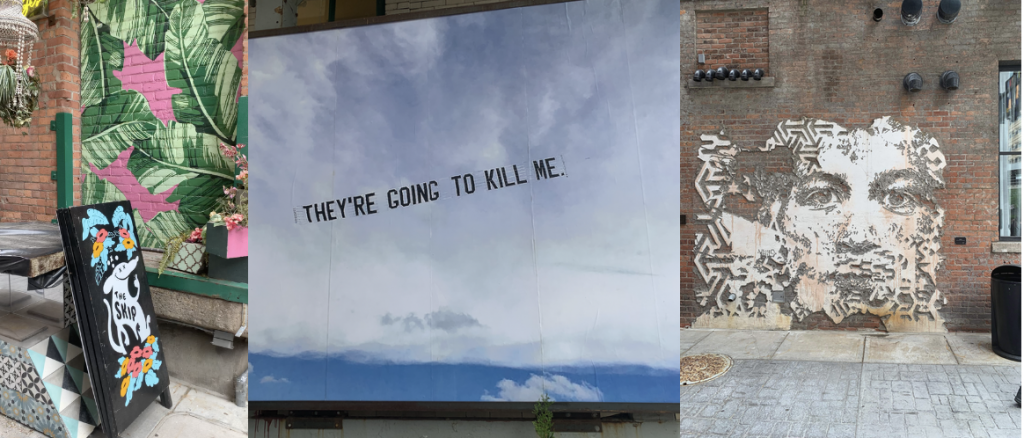 """A group of pictures taken in The Belt, a Detroit alley filled with art. This includes a protest picture in which the sign """"They're Going to Kill Me"""" is printed against the sky."""