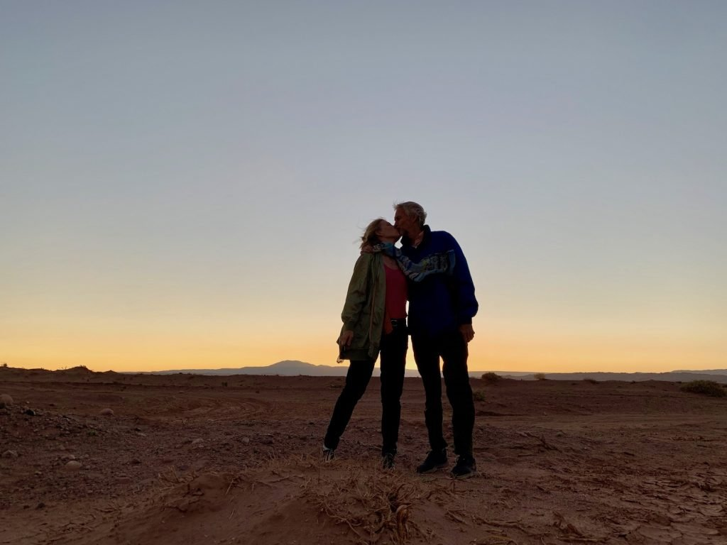 kissing in the valley of the moon, atacama desert, chile