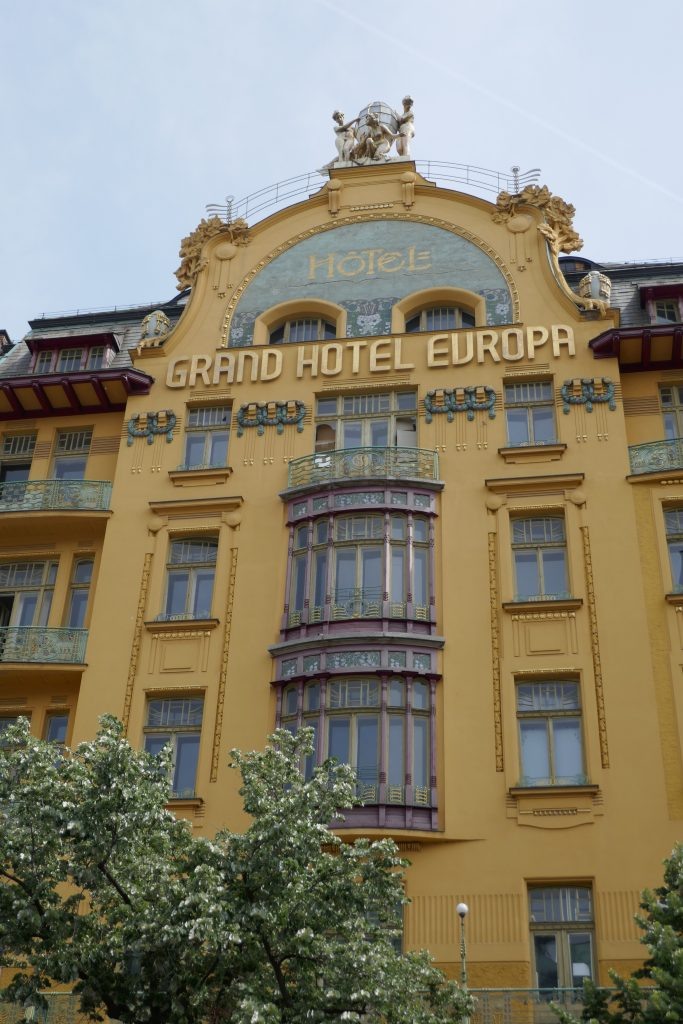 sightseeing prague: look up at the beautiful upper floors of the Grand Hotel Europa.