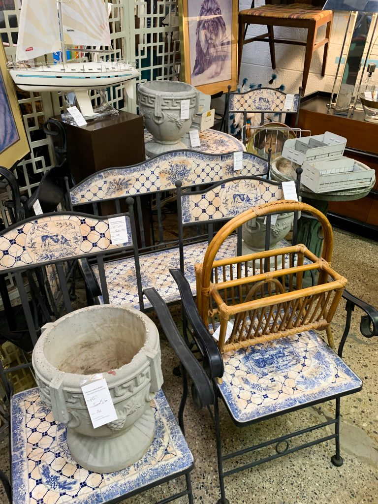 Vintage Market, near Eastern Market in Detroit, offers treasures from the past, like this blue mosaic outdoor furniture set. One of our favorite fun things to do in Detroit.