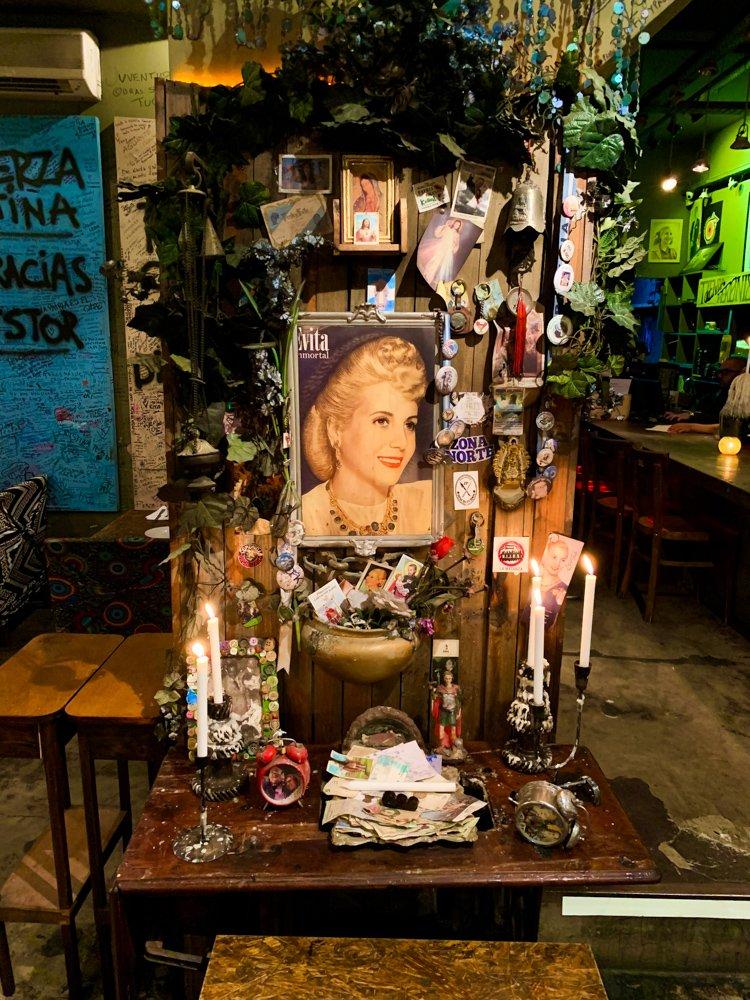august 2021 destinations a shrine to Eva Peron in the Buenos Aires restaurant Peron Peron