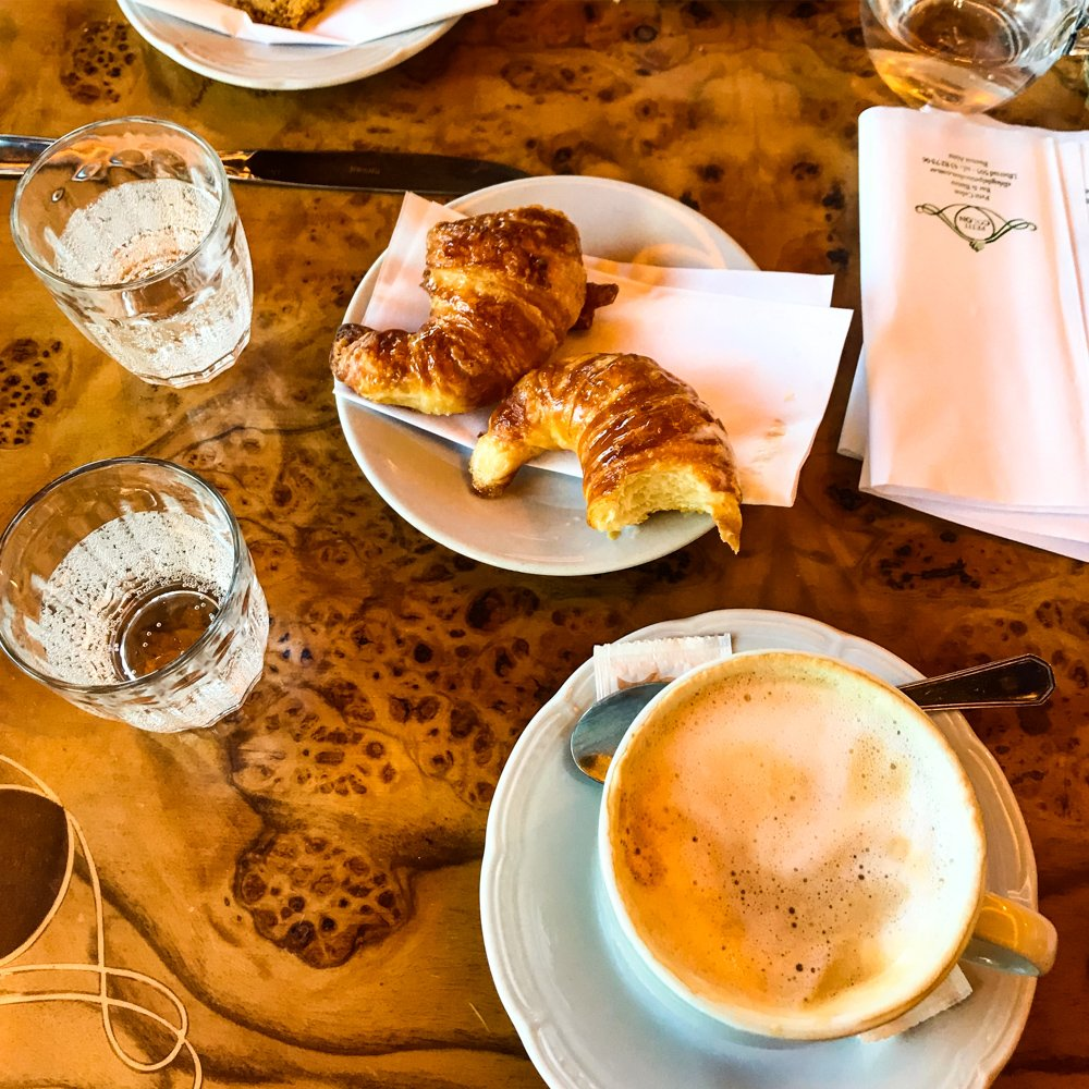 August 2021 destinations a cappuccino and medialunas in a Buenos Aires coffee shop