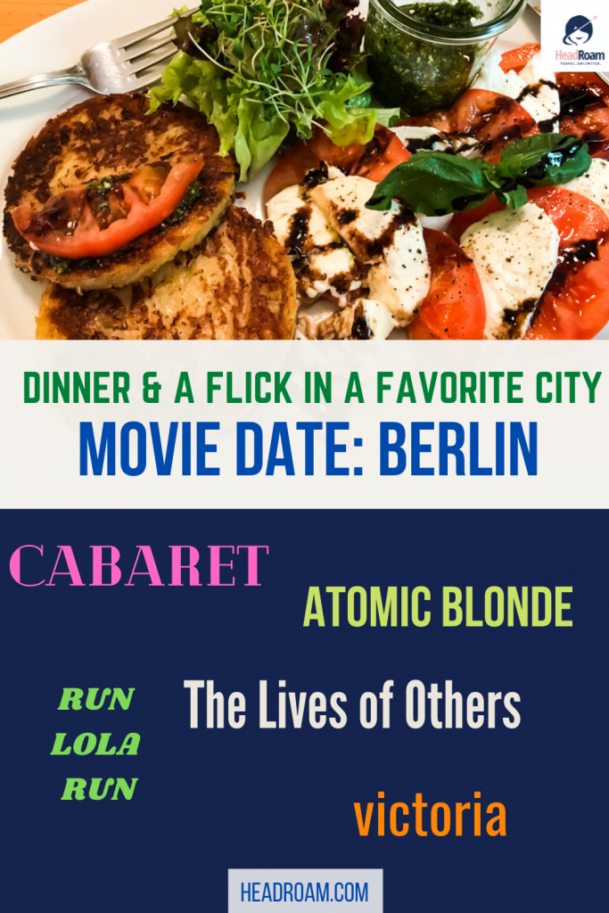 movie date berlin: this pinterest card features movie titles and a great meal suggestion of potato pancakes