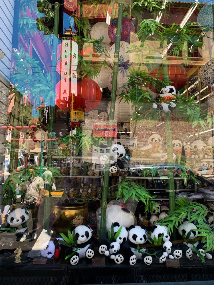 A Chinatown souvenir shop features stuffed pandas, a hidden gem in San Francisco
