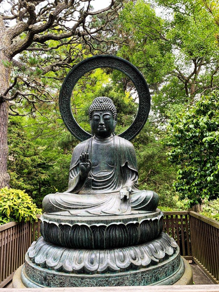 a buddha at the Japanese tea garden in San Francisco