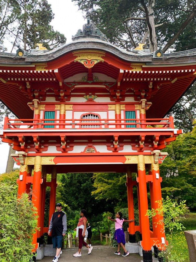 a pagoda arch in bright orange and pale yellow from the Japanese Garden in San Francisco