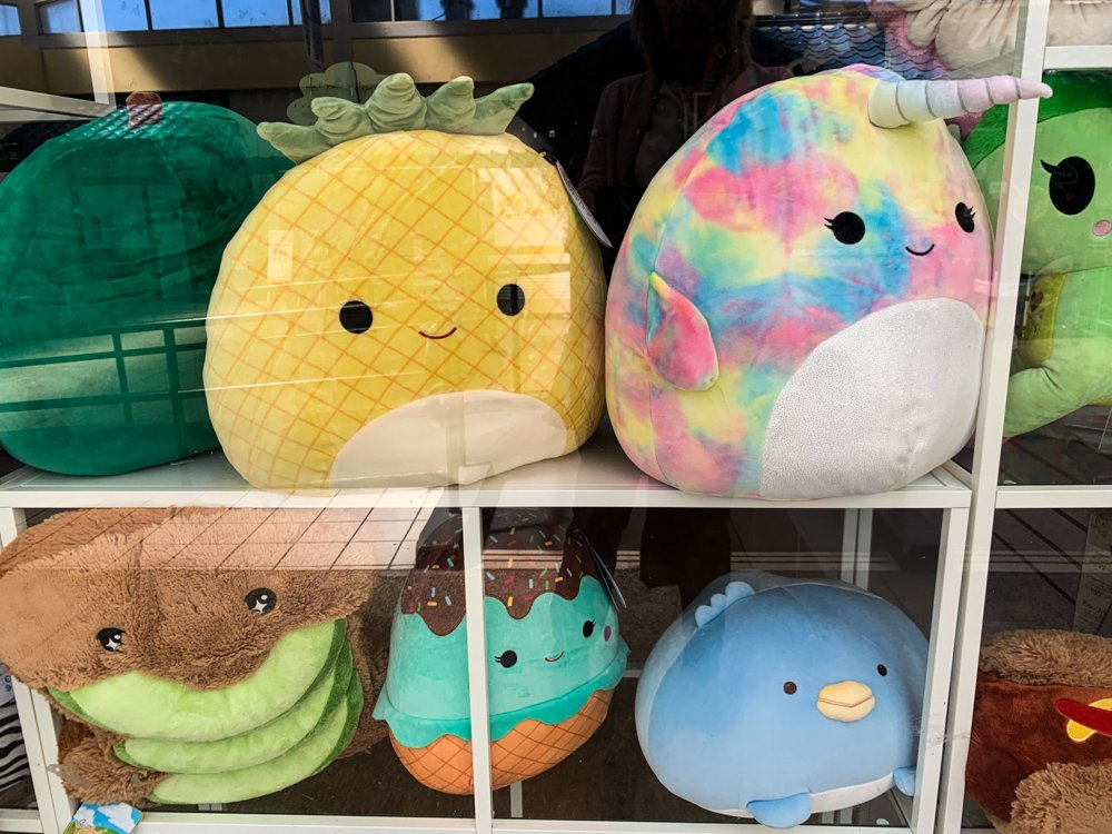 plush pillows available in the West Mall of Japantown, San Francisco