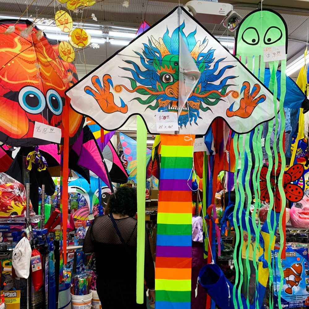 Brilliantly colored kites hang in the Chinatown Kite Shop, one of the hidden gems of San Francisco