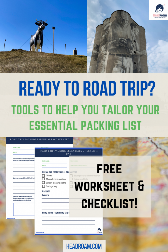 landmarks include Salem Sue, a gigantic concrete Holstein cow sculpture in North Dakota, and a silo painted by artist Guido van Helten in Fort Dodge, IA, tempt readers along with an offer of a free worksheet and checklist to tailor your road trip packing list essentials